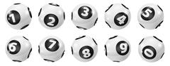 Set of Lottery Black and White Number Balls 0-9 Piirros