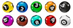Set of Lottery Colored Number Balls 0-9 Piirros