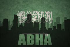 Abstract silhouette of the city with text Abha at the vintage saudi arabia fl Stock Illustration