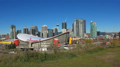 Calgary skyline Scotsman hill sunny morning, constantly evolving Stock Footage
