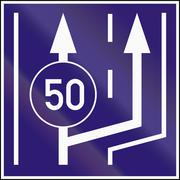 Informatory Hungarian road sign - Beginning of two lanes with minimum speed Stock Illustration