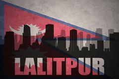 Abstract silhouette of the city with text Lalitpur at the vintage nepal flag  Stock Illustration
