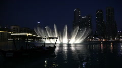 Singing fountain show at night in Dubai, UAE Stock Footage