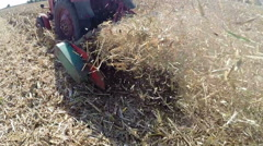Mowing Corn Stubble After Harvest Stock Footage