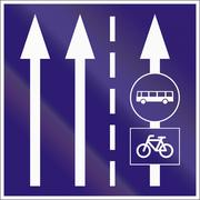 Informatory Hungarian road sign - Two lanes with additional bus and bike lane Stock Illustration