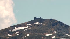 Lonely stone building on a hilltop Stock Footage