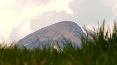 View of the mountain Hoverla through the grass Stock Footage