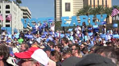 Supporter At Hillary Clinton Rally In Tampa Infront Of Big Vote Early Sign Stock Footage
