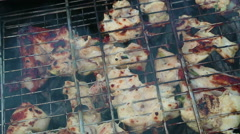 Cooking meat over an open fire. Smoke and flames from smoldering charcoal.  Stock Footage