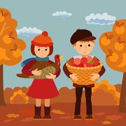 Thanksgiving day children apples and turkey vector illustration. Boy girl in Stock Illustration
