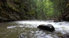 BX falls spring runoff into rocky pool Stock Footage