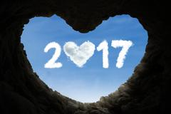 Cave and number 2017 full of love Stock Illustration