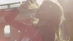 Close ups of a beautiful joyful woman Stock Footage