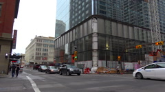 Calgary Downtown traffic and construction site, Brookfield place Stock Footage