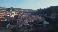 Panorama of small and beautiful city in the South Bohemian Region of the Czech R Stock Footage