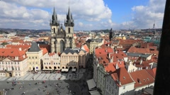 Panorama of Old Town square in Prague Stock Footage