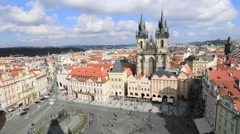 Static view on Old Town square in Prague Stock Footage