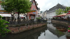 Cityscape of Saarburg with Saar river flowing through the town. Stock Footage