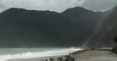 Rugged Mountainous Coastline The Day Before A Hurricane Hits Stock Footage