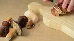 Woman is cutting fresh mushrooms into pieces, creating bay bolete mushroom meal Stock Footage