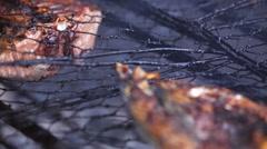 Fresh-caught tuna cooking on grill BBQ on the fire. Jimbaran Fish Market. Stock Footage
