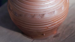 Creation of clay pot. Close up final result of the Master Stock Footage