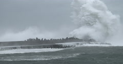 Massive Waves Crash Into Port As Powerful Hurricane Hits Stock Footage