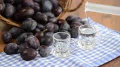 Traditional autumn product, plum liquor Stock Footage
