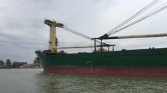 Big cargo ship in the Danube Delta and Sulina Stock Footage