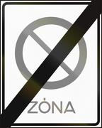 Road sign used in Hungary - End of no parking zone Stock Illustration
