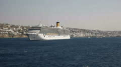 Cruise boat moored at the greek island of mykonos Stock Footage
