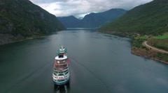 Cruise Ship, Cruise Liners On Sognefjord or Sognefjorden, Norway Stock Footage