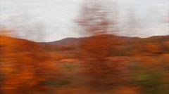 Driving near autumn trees on wayside Stock Footage