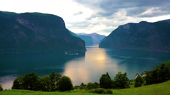 Beautiful Sognefjord or Sognefjorden Nature Norway. Stock Footage