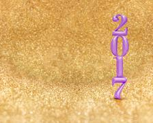 Happy new year 2017 (3d rendering) purple color at golden sparkling glitter r Piirros