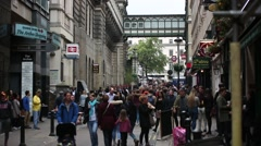 Central London Crowds of Shoppers Stock Footage
