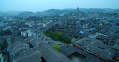 Traditional  village in the morning  withe gray tile Stock Footage