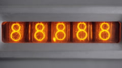The count on the vacuum tube clock. Switching on the tube timer. Close up. Stock Footage