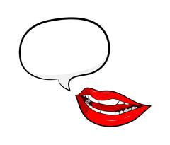 Gossip Red Lips Talking with Speech Bubble Stock Illustration