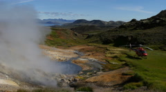 Helicopter besides a hot spring, Iceland, 4k Stock Footage