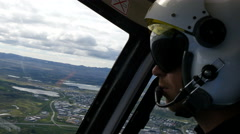 Helicopter pilot flying, 4k Stock Footage