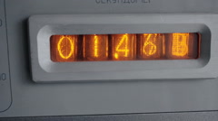 Start counting seconds of vintage vacuum tube timer. Close up. Stock Footage