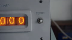 Vintage tube timer counts down the seconds. Tube display in the metal frame. Stock Footage