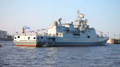 "Patrol ship ""Admiral Essen"" on the Neva river for Navy day celebration Stock Footage"