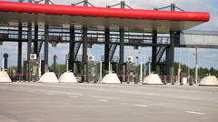 Charging point on the toll road. Russian highway number M11 Stock Footage
