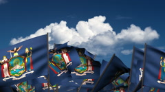 Waving New York State Flags Stock Footage