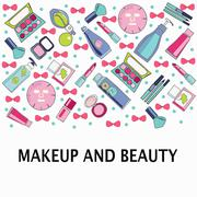 Vector pattern of Make-Up, beauty and healthy cosmetic product Stock Illustration