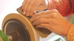 Sanding wood on a lathe Stock Footage
