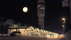 Reagan National Airport Terminal at Night Full Moon Stock Footage