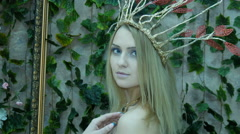 Portrait of a model in the form of Elvish princess Stock Footage
